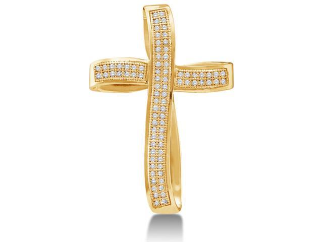 10K Yellow Gold Curved Bow Style Cross Micro Pave Set Round Diamond Pendant - (1/4 cttw, G - H Color, SI2 Clarity)