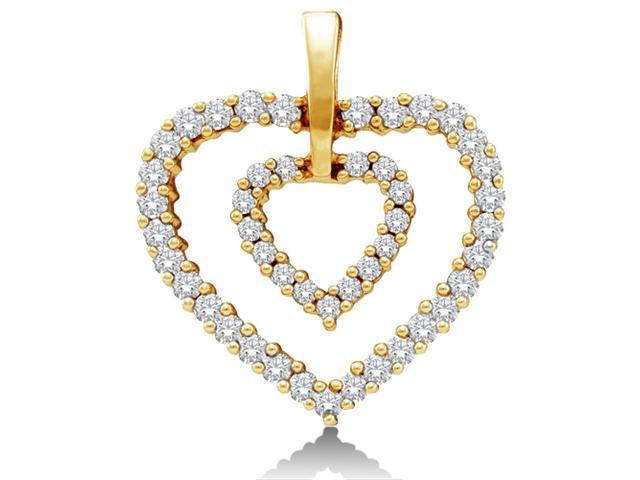 14K Yellow Gold Two 2 Heart Love Heart Channel Set Round Diamond Pendant - (Height = 16mm ; Width = 18mm) - (1/2 cttw, G - H Color, SI2 Clarity)