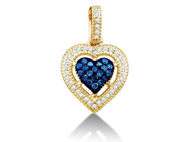 10K Yellow Gold Heart Channel Micro Pave Set Round White and Blue Diamond Pendant - (Height = 12mm ; Width = 12mm) - (1/5 cttw, G - H Color, SI2 Clarity)
