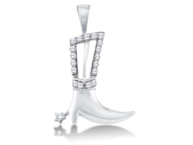 10k White Gold Cowboy Cowgirl Boot Channel Set Round Diamond Pendant - (Height = 15mm ; Width = 14mm) - (1/10 cttw, G - H Color, SI2 Clarity)