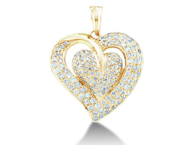 14K Yellow Gold Large Heart Micro Pave Set Round Diamond Pendant - (1.00 cttw, G - H Color, SI2 Clarity)