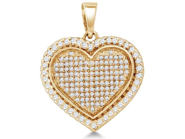 .925 Sterling Silver Plated in Yellow Gold Heart Micro Pave Channel Set Round Diamond Pendant - (4/5 cttw, G - H Color, SI2 Clarity)