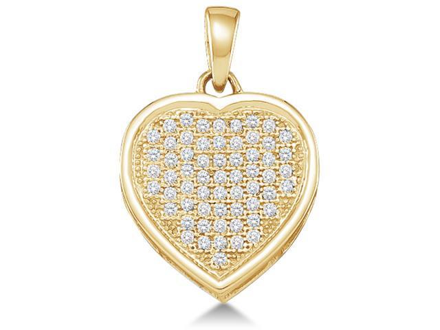 10K Yellow Gold Heart Micro Pave Set Round Diamond Pendant - (1/5 cttw, G - H Color, SI2 Clarity)