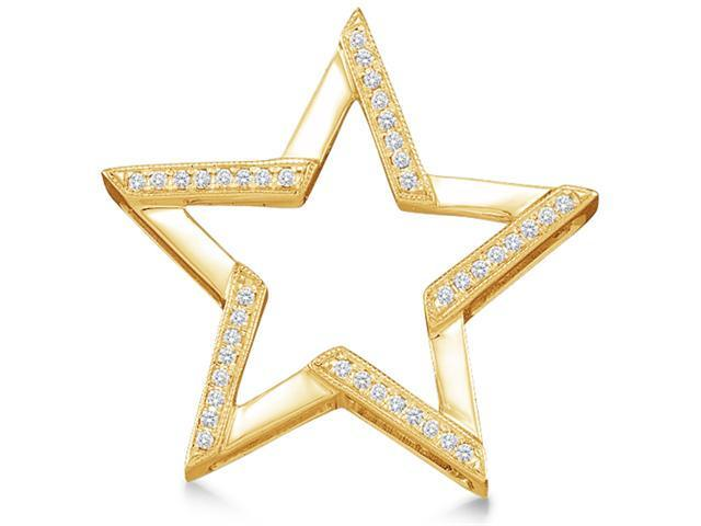 10K Yellow Gold Star Micro Pave Set Round Diamond Pendant - (1/10 cttw, G - H Color, SI2 Clarity)