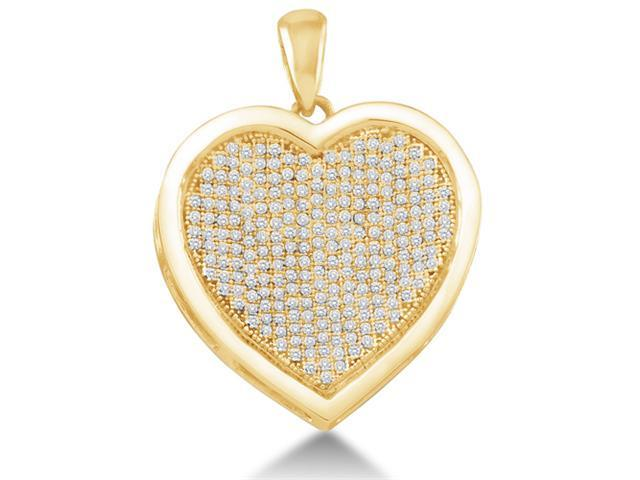 10K Yellow Gold Heart Micro Pave Set Round Diamond Pendant - (1/2 cttw, G - H Color, SI2 Clarity)