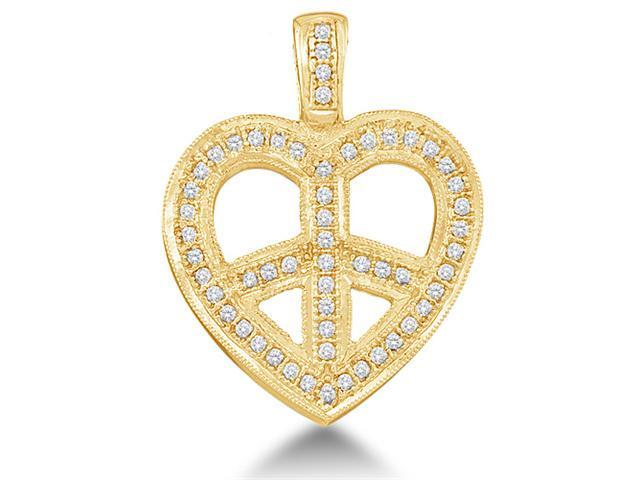 10K Yellow Gold Cross Heart Micro Pave Set Round Diamond Pendant - (.15 cttw, G - H Color, SI2 Clarity)