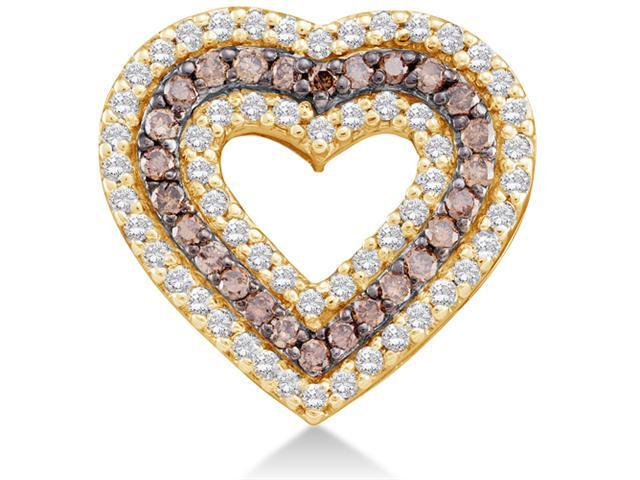 14K Yellow Gold Heart Channel Set Round White and Chocolate Brown Diamond Pendant - (3/4 cttw, G - H Color, SI2 Clarity)