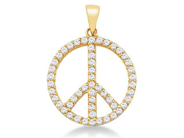 14K Yellow Gold Eternity Peace Channel Set Round Diamond Pendant - (4/5 cttw, G - H Color, SI2 Clarity)