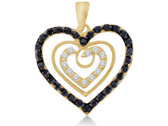 14K Yellow Gold Heart Channel Set Round White and Black Diamond Pendant - (.62 cttw, G - H Color, SI2 Clarity)