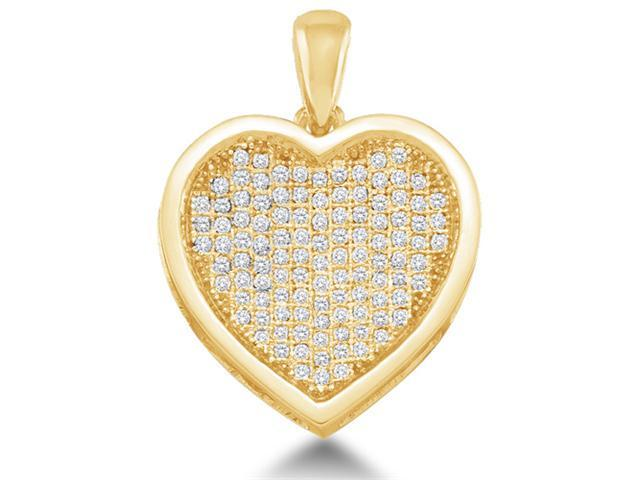 10K Yellow Gold Heart Micro Pave Set Round Diamond Pendant - (1/3 cttw, G - H Color, SI2 Clarity)