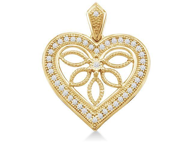 10K Yellow Gold Tree Leaves Heart Micro Pave Set Round Diamond Pendant - (1/10 cttw, G - H Color, SI2 Clarity)