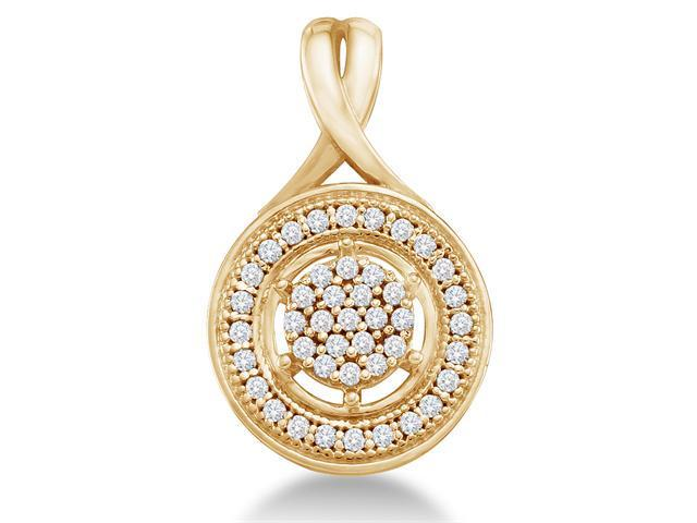 10K Yellow Gold Eternity Circle Flower Micro Pave Set Round Diamond Pendant - (.15 cttw, G - H Color, SI2 Clarity)