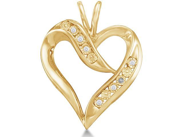 10K Yellow Gold Heart Pave Set Round Diamond Pendant - (.025 cttw, G - H Color, SI2 Clarity)