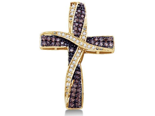 10K Yellow Gold Cross Channel Set Round White and Chocolate Brown Diamond Pendant - (.57 cttw, G - H Color, SI2 Clarity)