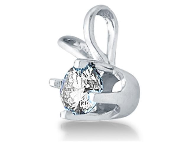 14K White Gold Round Solitaire Prong Set Round Diamond Pendant - (1/4 cttw, G - H Color, SI2 Clarity)