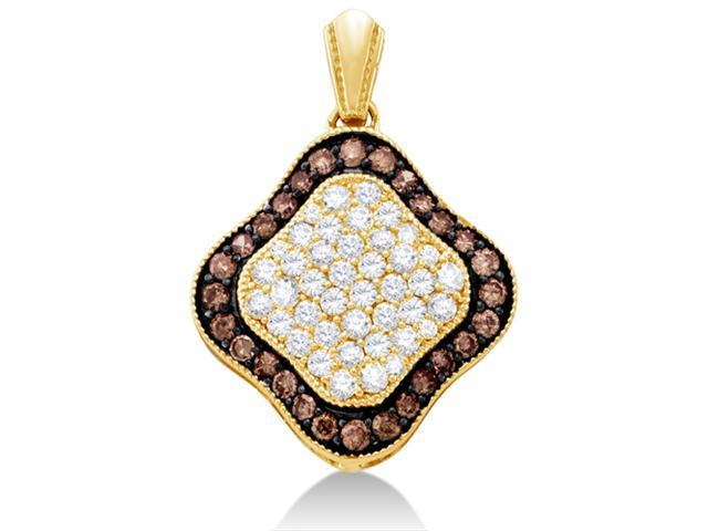 10K Yellow Gold Large Puffed Dangle Invisible Channel Set Round White and Chocolate Brown Diamond Pendant - (1.00 cttw, G - H Color, SI2 Clarity)