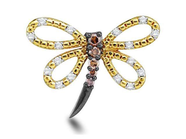 14K Yellow Gold Butterfly Channel Set Round White and Chocolate Brown Diamond Pendant - (1/4 cttw, G - H Color, SI2 Clarity)