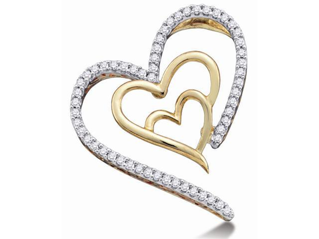 10K Yellow and White Two Tone Gold Heart Micro Pave Set Round Diamond Pendant - (.15 cttw, G - H Color, SI2 Clarity)