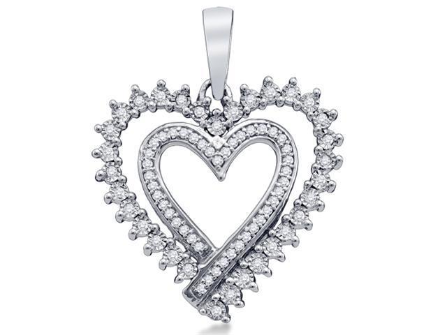 10K White Gold Heart Channel Pave Set Round Diamond Pendant - (1/5 cttw, G - H Color, SI2 Clarity)