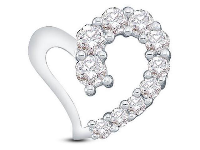 14K White Gold Journey Heart Channel Set Round Diamond Pendant - (.18 cttw, G - H Color, SI2 Clarity)