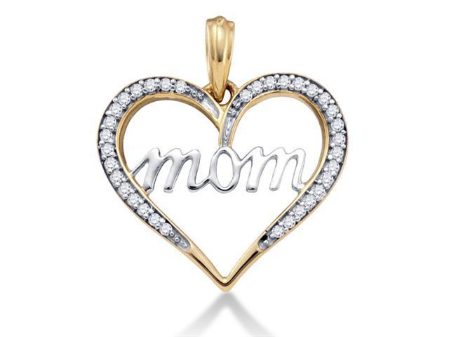 10K Yellow and White Two Tone Gold MOM Heart Channel Set Round Diamond Pendant - (1/8 cttw, G - H Color, SI2 Clarity)