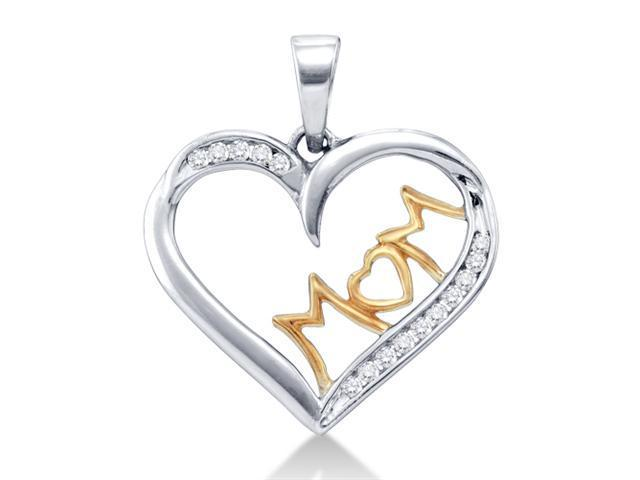 .925 Sterling Silver Plated in White Gold Rhodium White and Yellow Two Tone Gold MOM Heart Round Diamond Pendant - (.15 cttw, G - H Color, SI2 Clarity)