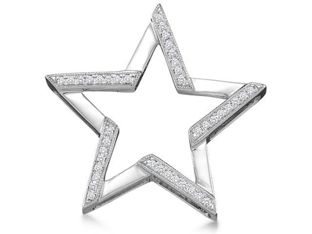 10K White Gold Star Micro Pave Set Round Diamond Pendant - (1/10 cttw, G - H Color, SI2 Clarity)