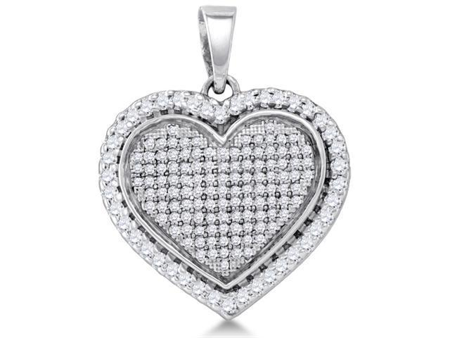 .925 Sterling Silver Plated in White Gold Rhodium Heart Micro Pave Channel Set Round Diamond Pendant - (4/5 cttw, G - H Color, SI2 Clarity)
