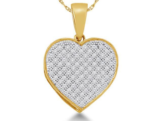 10K Yellow and White Two Tone Gold Heart Micro Pave Set Round Diamond Pendant - (1/4 cttw, G - H Color, SI2 Clarity)