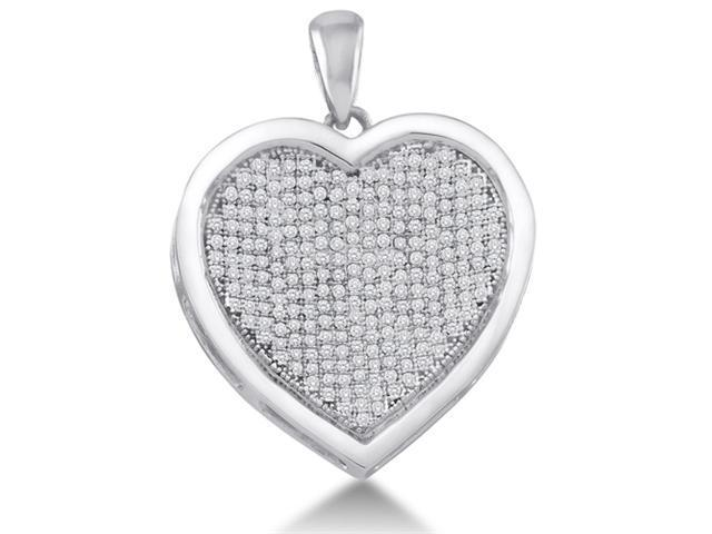 10K White Gold Heart Micro Pave Set Round Diamond Pendant - (1/2 cttw, G - H Color, SI2 Clarity)