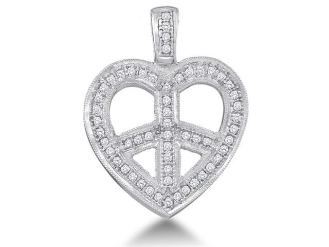 10K White Gold Cross Heart Micro Pave Set Round Diamond Pendant - (.15 cttw, G - H Color, SI2 Clarity)