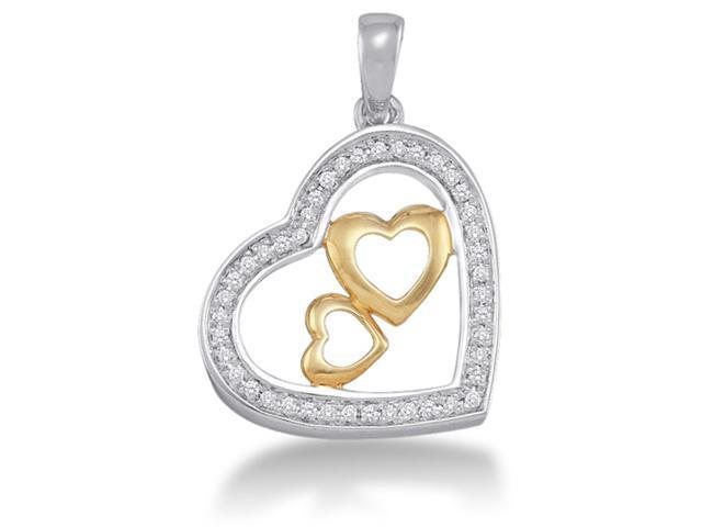 10K White and Yellow Two Tone Gold 2 Two Heart Heart Micro Pave Set Round Diamond Pendant - (.15 cttw, G - H Color, SI2 Clarity)