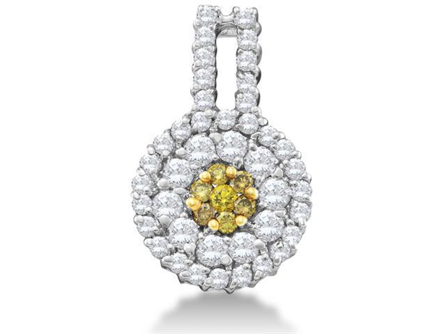 14K White Gold Large Eternity Flower Invisible Channel Set Round Yellow and White Diamond Pendant - (1.00 cttw, G - H Color, SI2 Clarity)