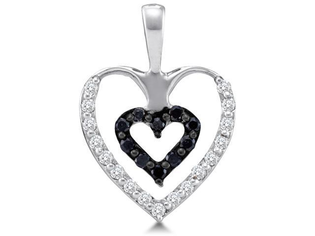 14K White Gold Heart Channel Set Round White and Black Diamond Pendant - (.43 cttw, G - H Color, SI2 Clarity)