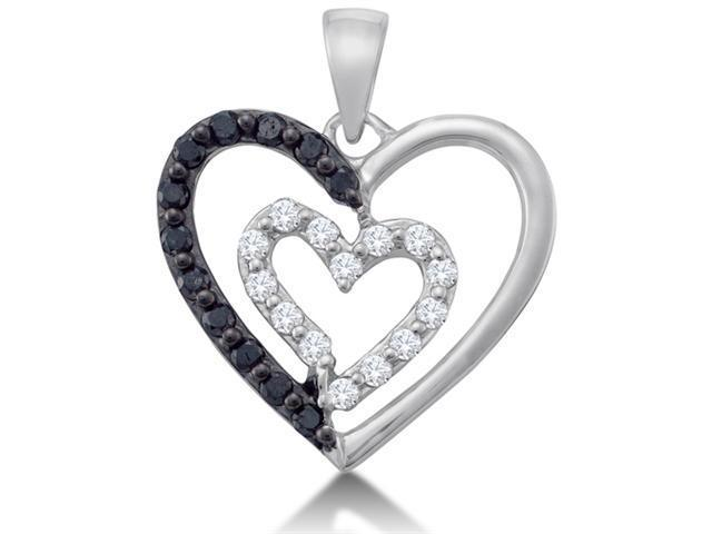14K White Gold Heart Channel Set Round White and Black Diamond Pendant - (.48 cttw, G - H Color, SI2 Clarity)