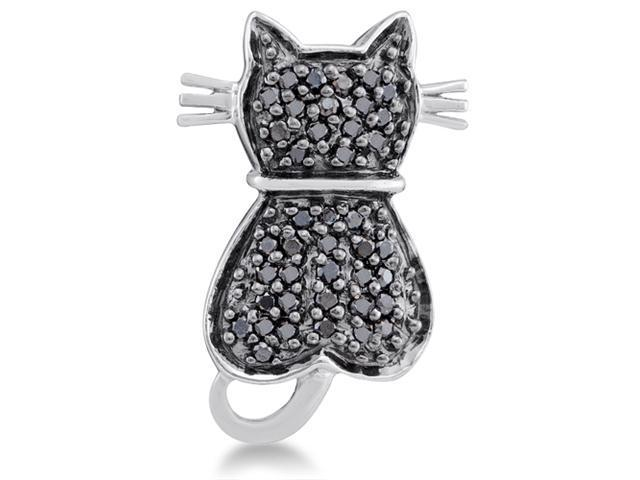 14K White Gold Cat Micro Pave Set Round Black Diamond Pendant - (1/4 cttw, G - H Color, SI2 Clarity)