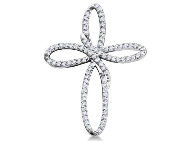 10K White Gold Infinity Cross Channel Set Round Diamond Pendant - (1/4 cttw, G - H Color, SI2 Clarity)