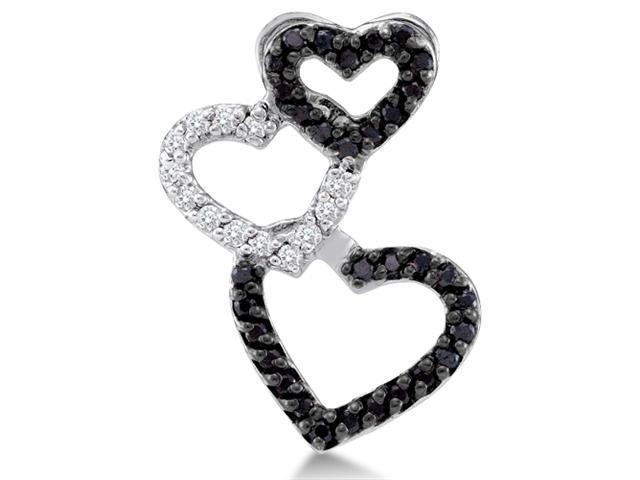 14K White Gold Heart Channel Set Round White and Black Diamond Pendant - (1/4 cttw, G - H Color, SI2 Clarity)