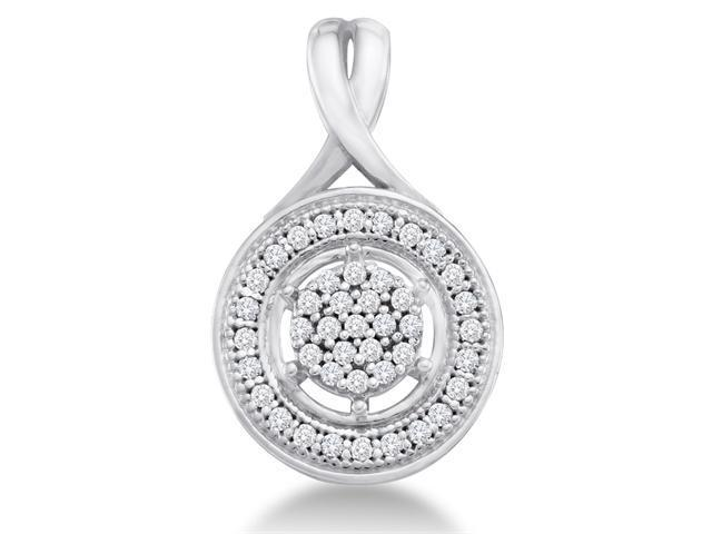 10K White Gold Eternity Circle Flower Micro Pave Set Round Diamond Pendant - (.15 cttw, G - H Color, SI2 Clarity)