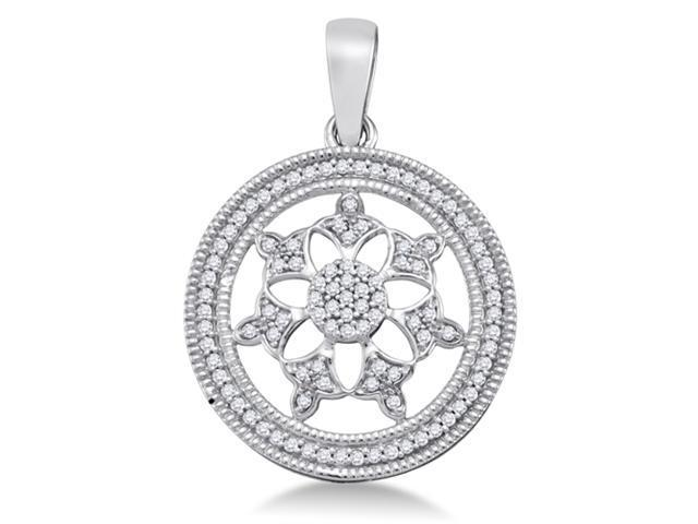 10K White Gold Circle Flower Micro Pave Set Round Diamond Pendant - (1/4 cttw, G - H Color, SI2 Clarity)