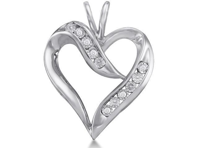 10K White Gold Heart Pave Set Round Diamond Pendant - (.025 cttw, G - H Color, SI2 Clarity)