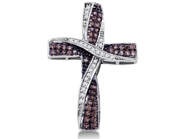 10K White Gold Cross Channel Set Round White and Chocolate Brown Diamond Pendant - (.57 cttw, G - H Color, SI2 Clarity)