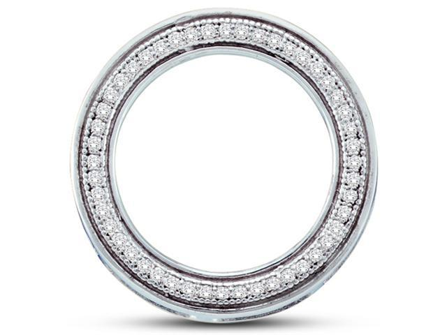 10K White Gold Eternity Micro Pave Set Round Diamond Pendant - (.15 cttw, G - H Color, SI2 Clarity)