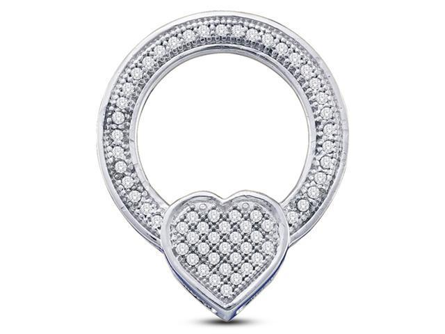 10K White Gold Heart Eternity Micro Pave Set Round Diamond Pendant - (.18 cttw, G - H Color, SI2 Clarity)