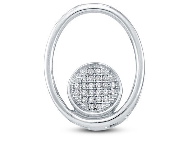 10K White Gold Eternity Circle Oval Shape Micro Pave Set Round Diamond Pendant - (.07 cttw, G - H Color, SI2 Clarity)
