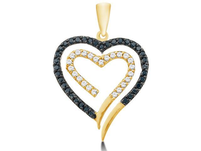 14K Yellow Gold Heart Channel Set Round White and Black Diamond Pendant - (1/3 cttw, G - H Color, SI2 Clarity)