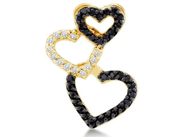 14K Yellow Gold Heart Channel Set Round White and Black Diamond Pendant - (1/4 cttw, G - H Color, SI2 Clarity)