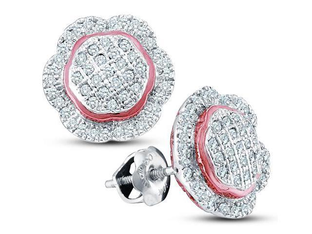 10K White and Pink Two Tone Gold Micro Pave Set Round Diamond Flower Stud Earrings with Screw Back Closure - (1/3 cttw, G - H Color, SI2 Clarity)