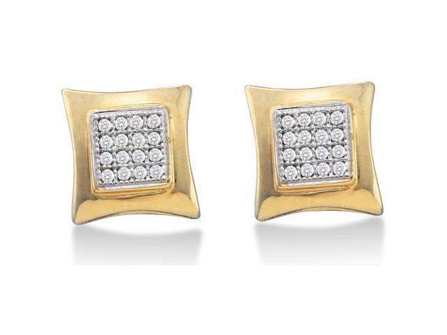 10K Yellow and White Two Tone Gold Micro Pave Set Round Diamond Square Shape Setting Stud Earrings  - (1/10 cttw, G - H Color, SI2 Clarity)