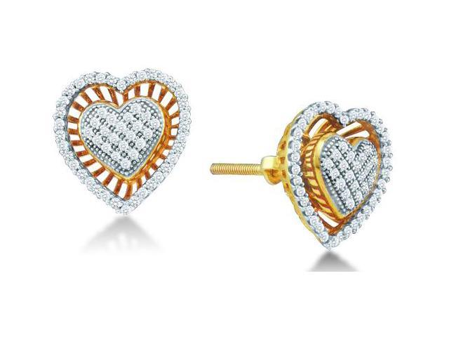 10K Yellow and White Two Tone Gold Micro Pave & Channel Set Round Diamond Heart Stud Earrings with Screw Back Closure - (.30 cttw, G - H Color, SI2 Clarity)